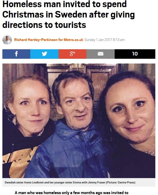 旅行者姉妹と友情を育んだホームレス男性(出典:http://metro.co.uk)