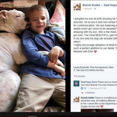 【海外発!Breaking News】言葉を話せない少年と聴覚障害のある犬の絆が美しい(米)