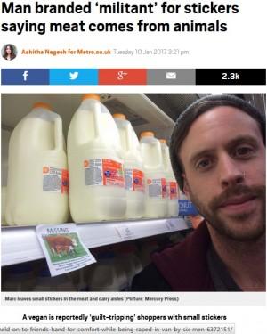 【海外発!Breaking News】肉を食べる人たちへ ステッカーをスーパーに貼り抗議するヴィーガン男性に賛否両論(英)