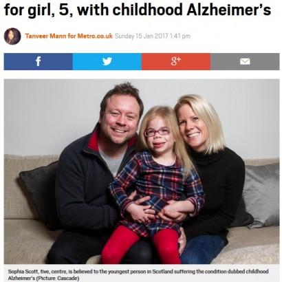【海外発!Breaking News】10万人に1人 最も若いアルツハイマー病を患う5歳少女(スコットランド)