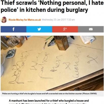 【海外発!Breaking News】「警察なんか大嫌い」 押し入った家にメッセージを残して去った窃盗犯(英)