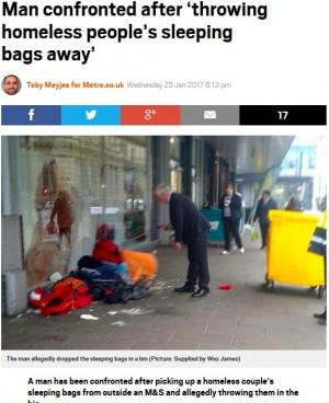 【海外発!Breaking News】デパートの警備員に扮した男、ホームレスの寝袋などを勝手にゴミ箱に捨てる(英)