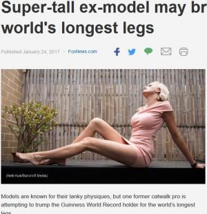 【海外発!Breaking News】ギネス記録を塗り替える!? 世界一長い脚を持つと主張する元モデル(豪)
