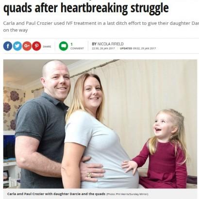 【海外発!Breaking News】7000万分の1の確率! 体外受精で一卵性双生児2組の4つ子を妊娠した英女性