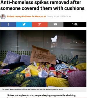 【海外発!Breaking News】ホームレス防止対策のため床に大釘を敷き詰めたビル 激怒した家族が反撃(英)