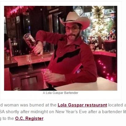 【海外発!Breaking News】レストランのカウントダウン・パフォーマンスが失敗 炎が女性客の顔を包む(米)