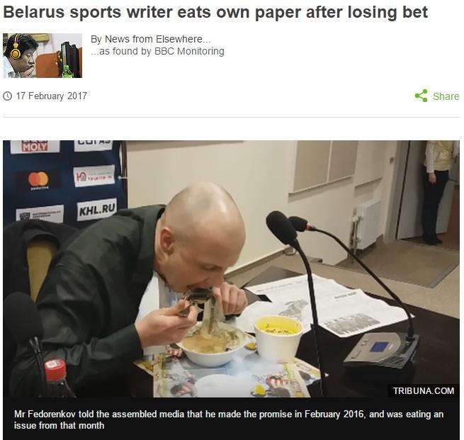 スポーツ紙の記者、責任を感じて新聞紙を食べる(出典:http://www.bbc.com)