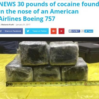 """【海外発!Breaking News】コロンビアから飛んできたアメリカン航空機 """"鼻""""の部分に数千万円相当のコカイン"""