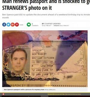 【海外発!Breaking News】更新後のパスポートにビックリ 見知らぬ人物の顔写真が!(英)