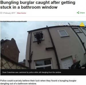【海外発!Breaking News】間抜けな泥棒、侵入先トイレの窓に挟まりぶら下がったまま見つかる(英)