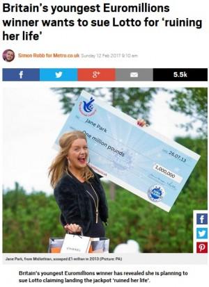 【海外発!Breaking News】17歳で宝くじに高額当選した女性 「人生台無しにされた」発言で猛批判の嵐(スコットランド)