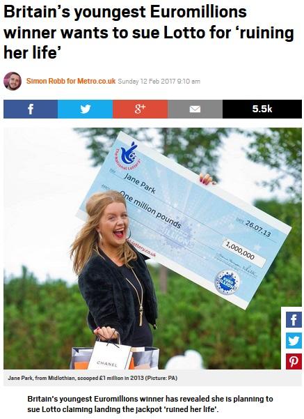 17歳で大金を手にした女性の愚痴に世間は呆れ(出典:http://metro.co.uk)