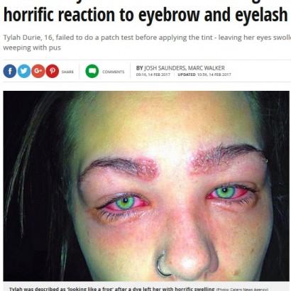 【海外発!Breaking News】人気の「眉ティント」で危うく失明しかけた16歳少女(豪)