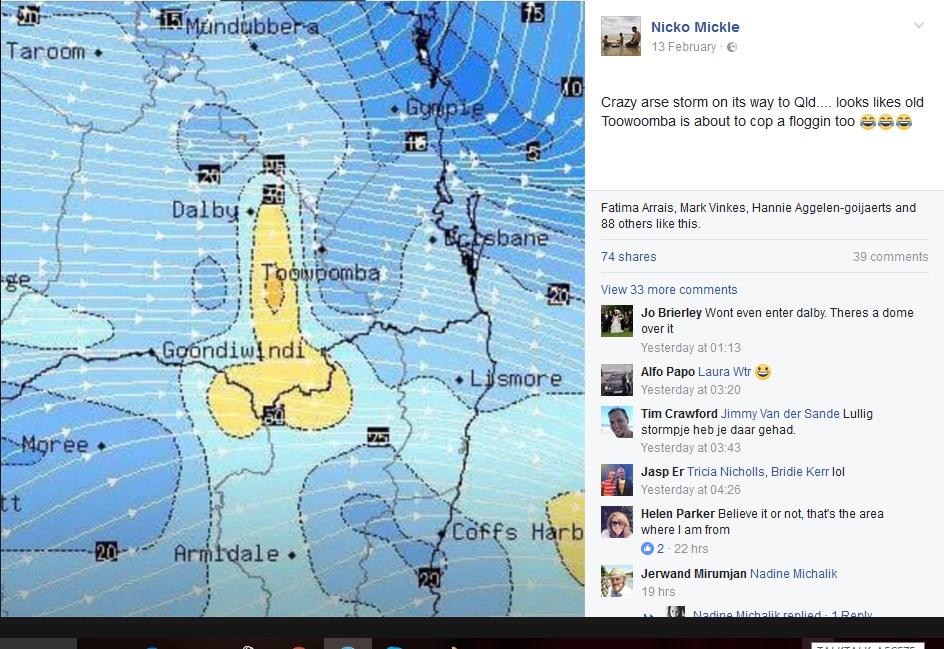 豪クィーンズランドの天気予報図が…(出典:https://www.facebook.com/nicko.mickle)