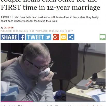 【海外発!Breaking News】12年目にして初めて互いの声を聞くことができた聴覚障害の夫婦(英)