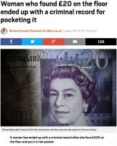 【海外発!Breaking News】床に落ちていた1枚の紙幣 拾った女性が窃盗罪で起訴され犯罪者に(英)