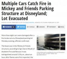 【海外発!Breaking News】カリフォルニアのディズニーランド駐車場で大きな火災 車両、来場客ともに被害