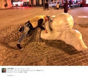 【エンタがビタミン♪】古坂大魔王、『フランダースの犬』の彫刻に感動 思わず名場面に仲間入り