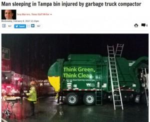 【海外発!Breaking News】ゴミ集積所で寝込んだ男性 収集車の中で目を覚まし救急搬送(米)