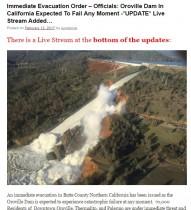 【海外発!Breaking News】カリフォルニア州・オロビル湖ダム決壊の危機に 行政の避難指導は後手後手