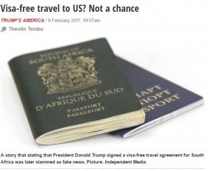 【海外発!Breaking News】南アフリカ人はアメリカ渡航にビザ緩和!?  国内でデマ拡散