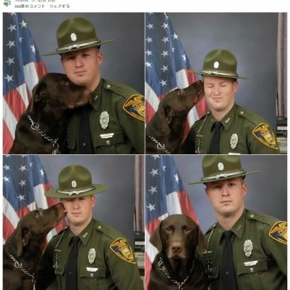 """【海外発!Breaking News】真面目な写真撮影を試みるも、大好きな""""相棒""""にキスが止まらない警察犬(米)"""