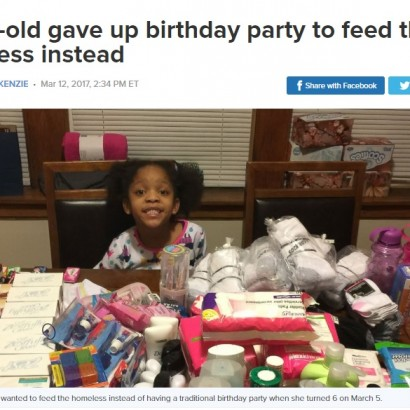【海外発!Breaking News】6歳の誕生日に「プレゼントはいらないからホームレスに食事を」少女の気持ちが温かい(米)