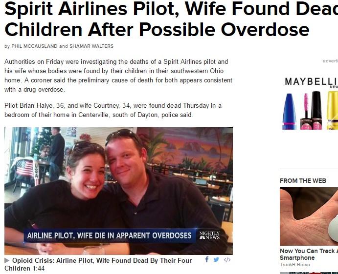 米LCCでパイロットが薬物過剰摂取により死亡(出典:http://www.nbcnews.com)