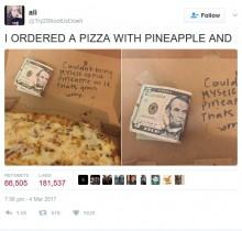 【海外発!Breaking News】「パイナップル入りのピザはイヤ」ピザ店員、デリバリーの箱にメモとお金で客を驚かす(米)
