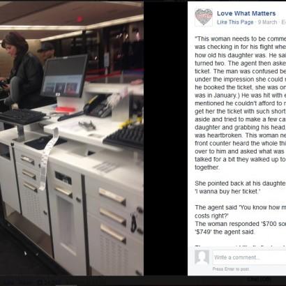 【海外発!Breaking News】娘の飛行機代を払えない父親に、空港で86,000円を肩代わりした女性 名前も告げず立ち去る(米)