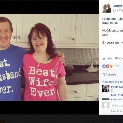 【海外発!Breaking News】世間の批判を乗り越えて結ばれたダウン症カップル、結婚22周年を祝う(英)