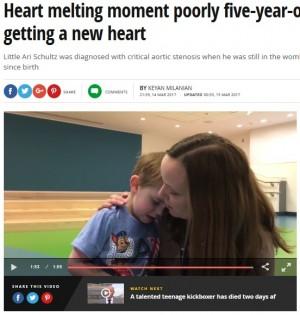 【海外発!Breaking News】先天性心臓疾患の5歳男児 移植手術が成功「退院したら野球の試合を観に行きたい」(米)<動画あり>