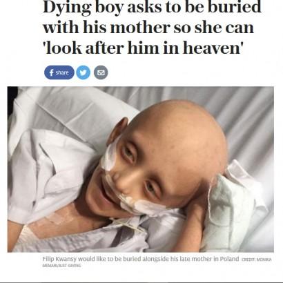 【海外発!Breaking News】余命僅か7歳少年の最後の願い「僕が死んだらママのお墓の隣に埋めて」(英)