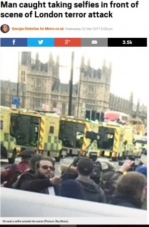 【海外発!Breaking News】ロンドンテロ現場で自撮りした男性 「不謹慎」と猛批判浴びる