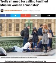 【海外発!Breaking News】テロ現場を素通りしたムスリムの女性、ネットで物議の的に(英)
