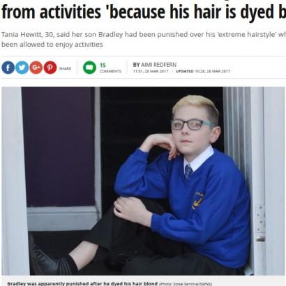 【海外発!Breaking News】金髪にした10歳男児 学校の行事に参加できず母親が激怒(英)