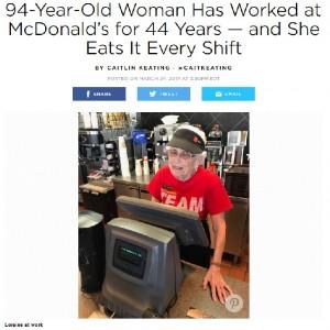 【海外発!Breaking News】勤続44年 マックで働く94歳のおばあちゃん(米)
