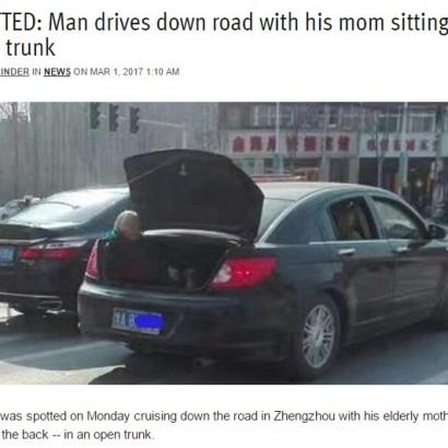 【海外発!Breaking News】車のトランクに座る高齢の母 「いい息子、悪く言わないで」に人々涙(中国)