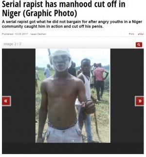 【海外発!Breaking News】連続婦女暴行犯を村人が襲撃 ペニスを切り落とす(ナイジェリア)