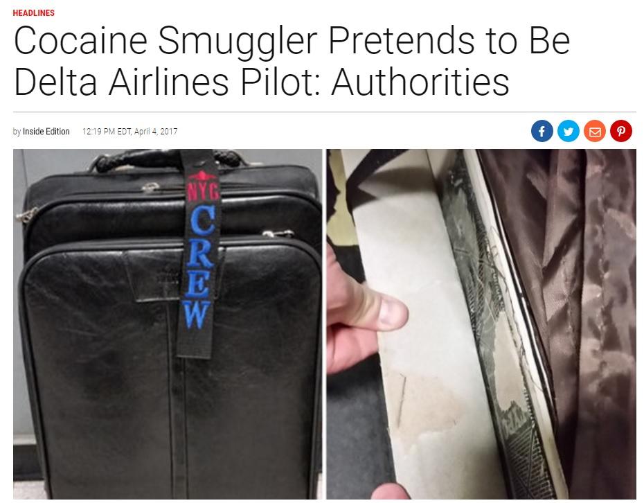コカインが隠されていたスーツケース(出典:http://www.insideedition.com)