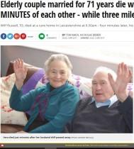 【海外発!Breaking News】71年連れ添った老夫婦の強い絆 4分差で天国へ(英)