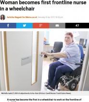 【海外発!Breaking News】事故に遭った女性 車椅子の看護師として職場復帰果たす(英)