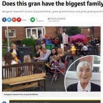 【海外発!Breaking News】孫やひ孫ら総勢154人! イギリスで最大の家族を持つ97歳おばあちゃん