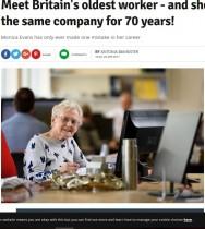 【海外発!Breaking News】エリザベス女王から祝福の手紙も 同じ職場で勤続70年を迎えた89歳女性(英)