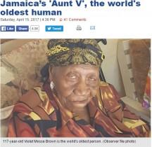 【海外発!Breaking News】新世界最高齢は117歳ジャマイカ女性 長生きの秘訣は?