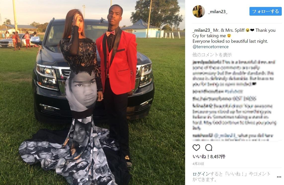 プロムで17歳女子高生が着たドレスが話題に(出典:https://www.instagram.com/_milan23_)
