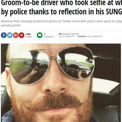 """【海外発!Breaking News】自撮りを投稿した男、サングラスに""""運転中""""の姿が映り捜査対象に(英)"""