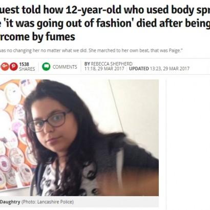 【海外発!Breaking News】狭い空間でのデオドラントスプレー 頻回使用で12歳少女が死亡(英)