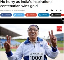 【海外発!Breaking News】101歳のインド女性 ワールドマスターズゲームズ「100m走100歳以上の部」で優勝