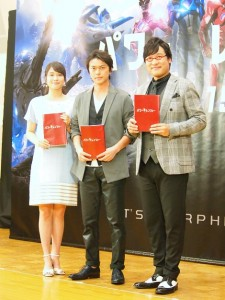 映画『パワーレンジャー』公開アフレコに出席した広瀬アリス、勝地涼、山里亮太